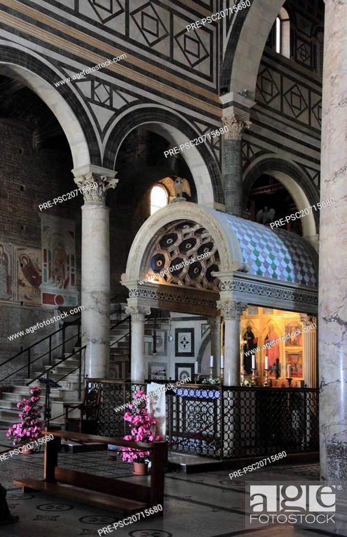 Stock Photo: Oldest church foundation of Florence, San Miato al Monte, here the marble tabernacle by Michelozzos in the choir, Firenze, Florence, Tuscany, Italy, Europe.