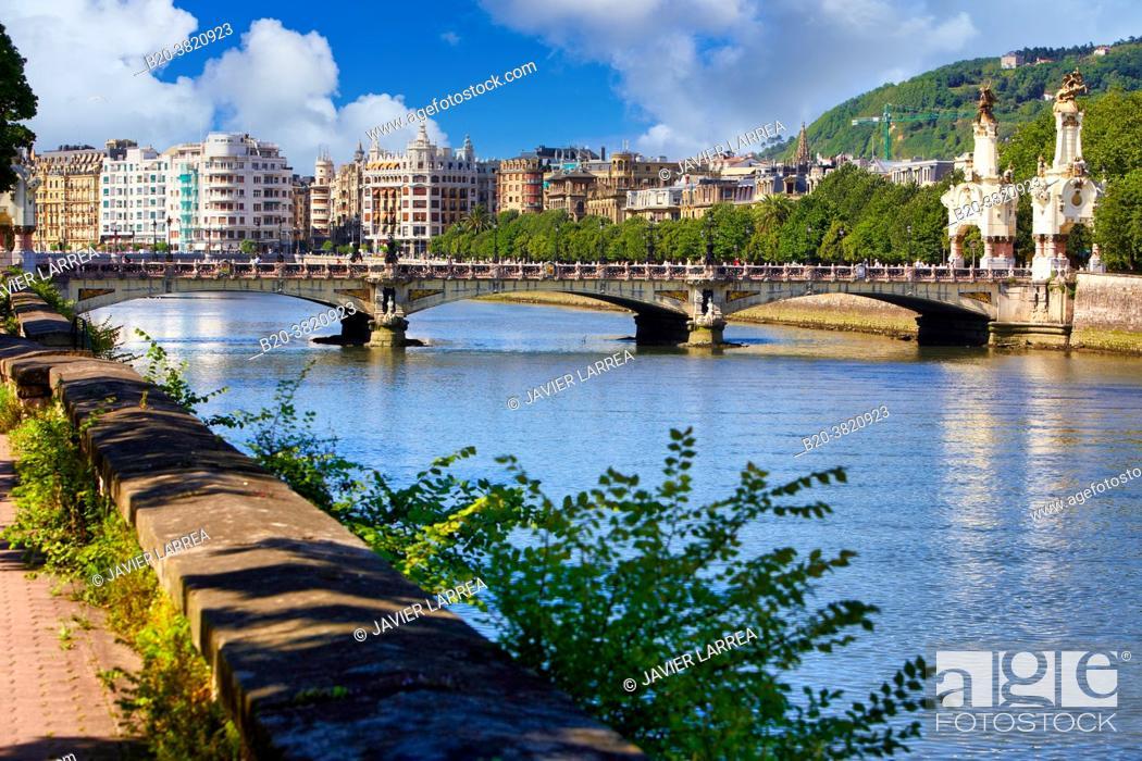 Stock Photo: Urumea River, Maria Cristina bridge, Donostia, San Sebastian, Basque Country, Spain,.