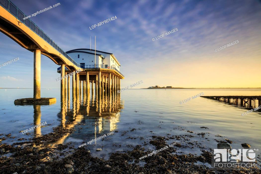 Stock Photo: A view of the RNLI station on Roa Island in Cumbria.