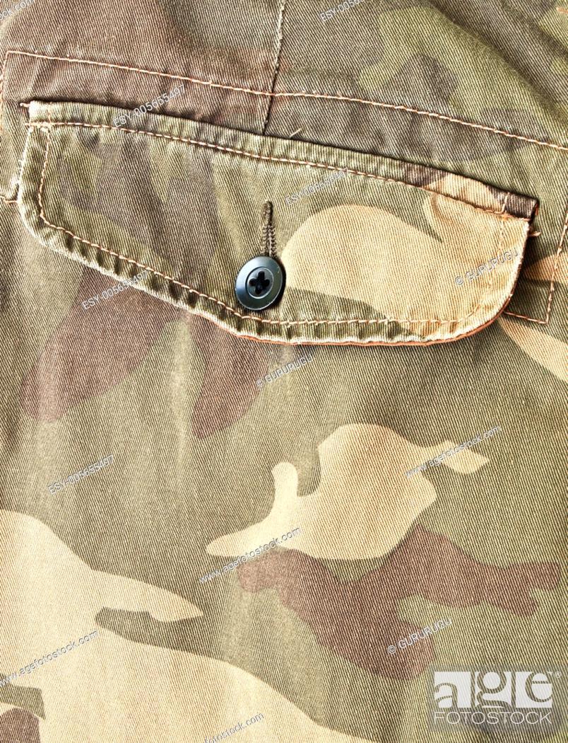 Stock Photo: Camouflage fabric pocket on pants.