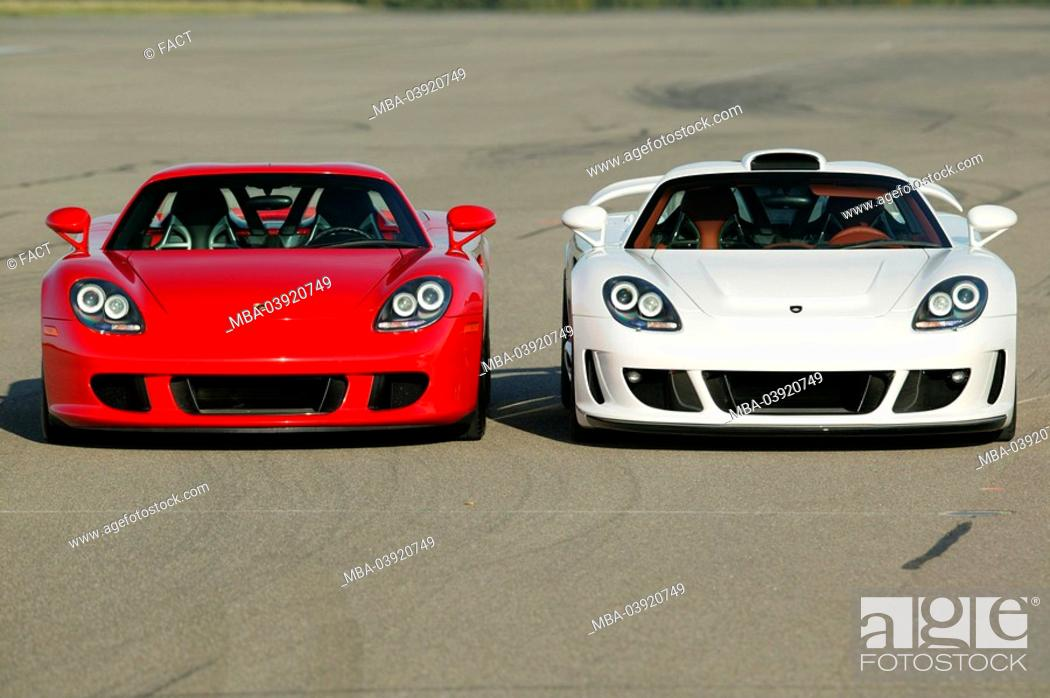 Stock Photo Porsche Gemballa Mirage White Red Front View Series Vehicles Car Sport Cars Side By Symbol Spin Driving
