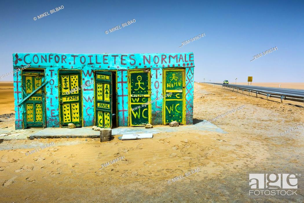 Stock Photo: Toilets in Chott el Djerid salt lake. Tunisia, Africa.