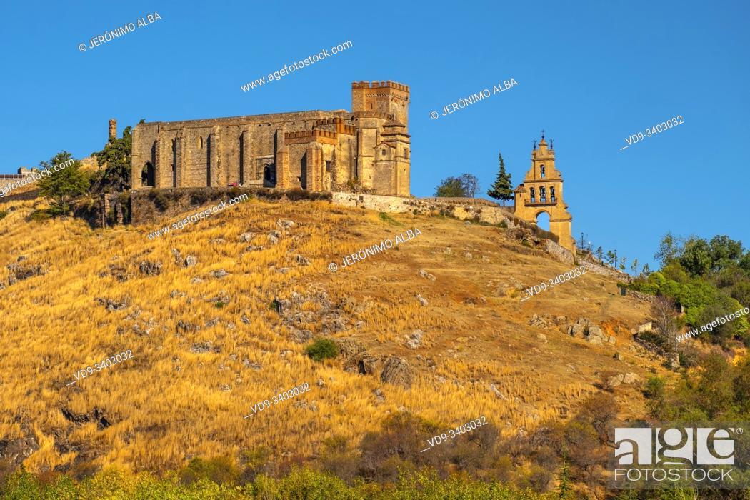 Stock Photo: Castle fortress. Priory Church Nuestra Señora del Mayor Dolor, Aracena. Sierra de Aracena and Picos de Aroche Natural Park. Huelva province.