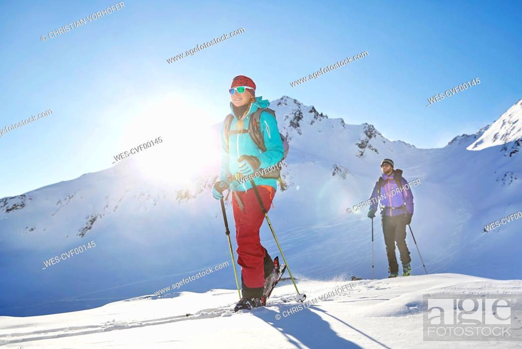 Stock Photo: Austria, Tyrol, Kuehtai , freeride skiers on a ski tour.