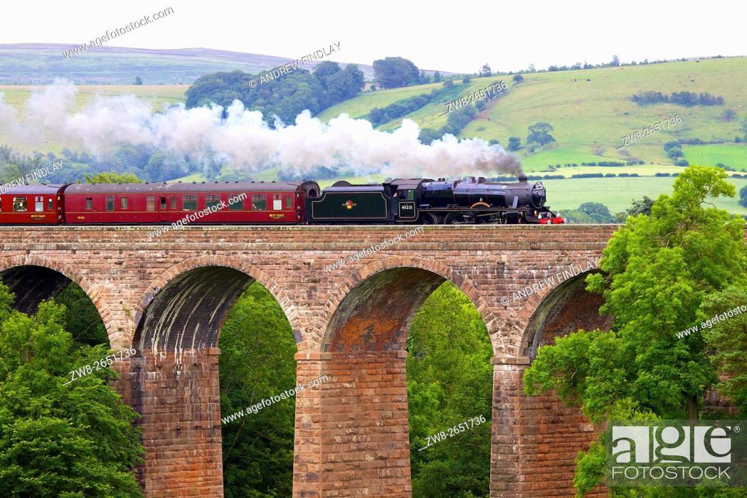 Stock Photo: Settle to Carlisle Railway Line. Steam train The Sherwood Forester. Dry Beck Viaduct, Armathwaite, Eden Valley, Cumbria, England, United Kingdom, Europe.