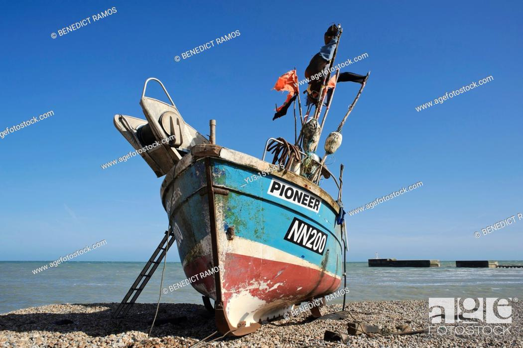 Stock Photo: Fishing boat on the beach, known as the Stade, Hastings, East Sussex, England, UK.
