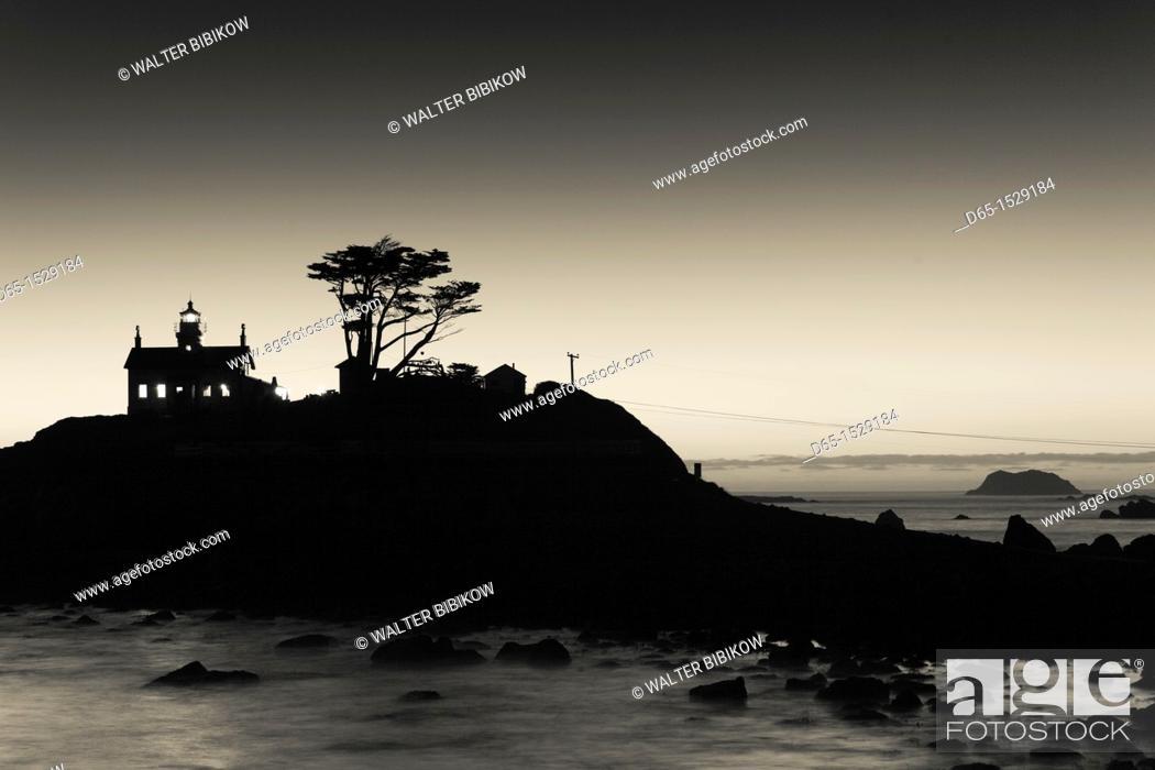Stock Photo: USA, California, Northern California, North Coast, Crescent City, Battery Point Lighthouse, dusk.