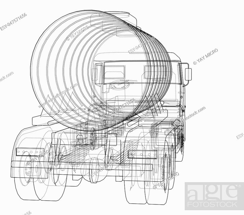 Stock Photo: Truck with tank concept. 3d illustration. Wire-frame style.