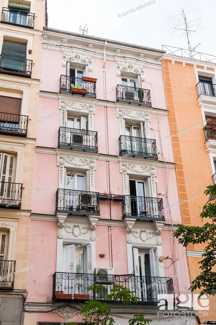 Stock Photo: Pink building in Plaza de Chueca. Madrid. Spain.