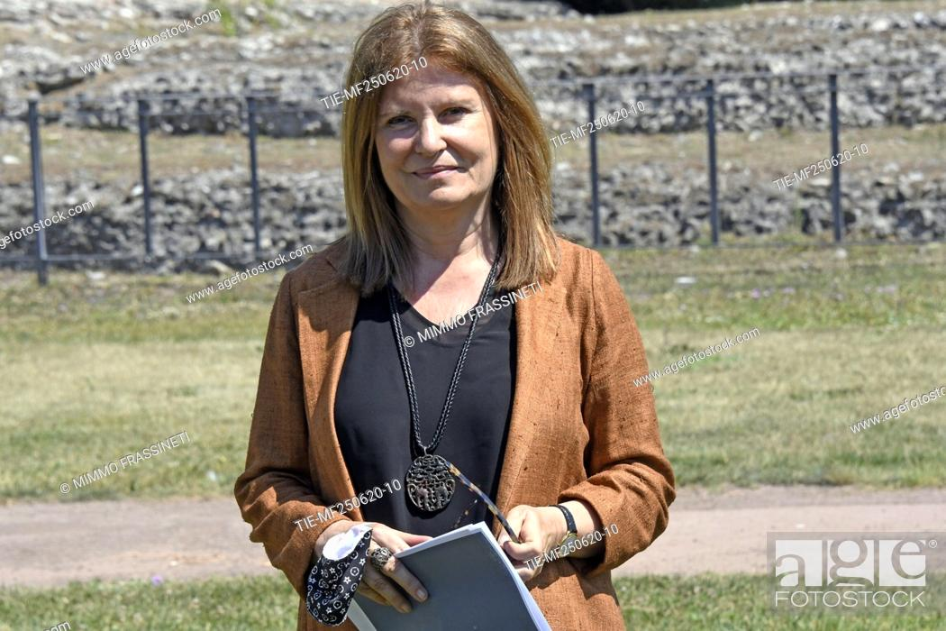 Stock Photo: Margherita Guccione, general director of Contemporary Creativity during the presentation of the bronze sculpture 'Anello' placed in the Viigna Barberini at the.