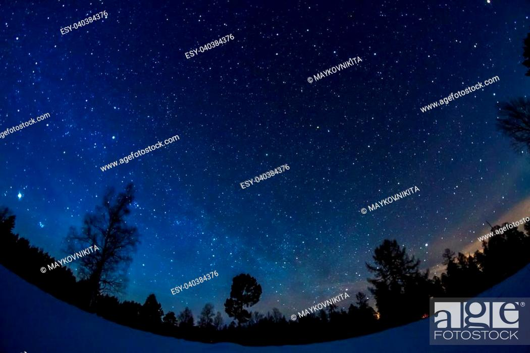 Photo de stock: Starry sky in winter.