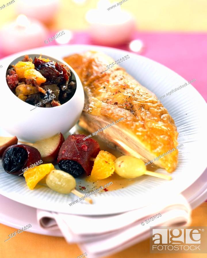 Stock Photo: turkey with fruit.