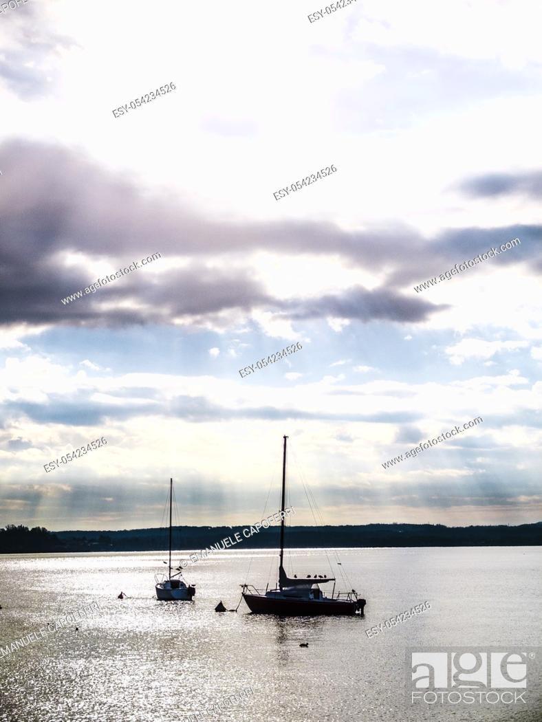 Stock Photo: Sailboats in Lake Maggiore, Angera, Varese, Lombardy, Italy.