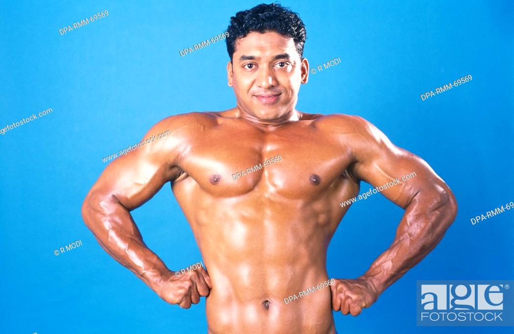Stock Photo: Body builder showing front lateral spread MR411.
