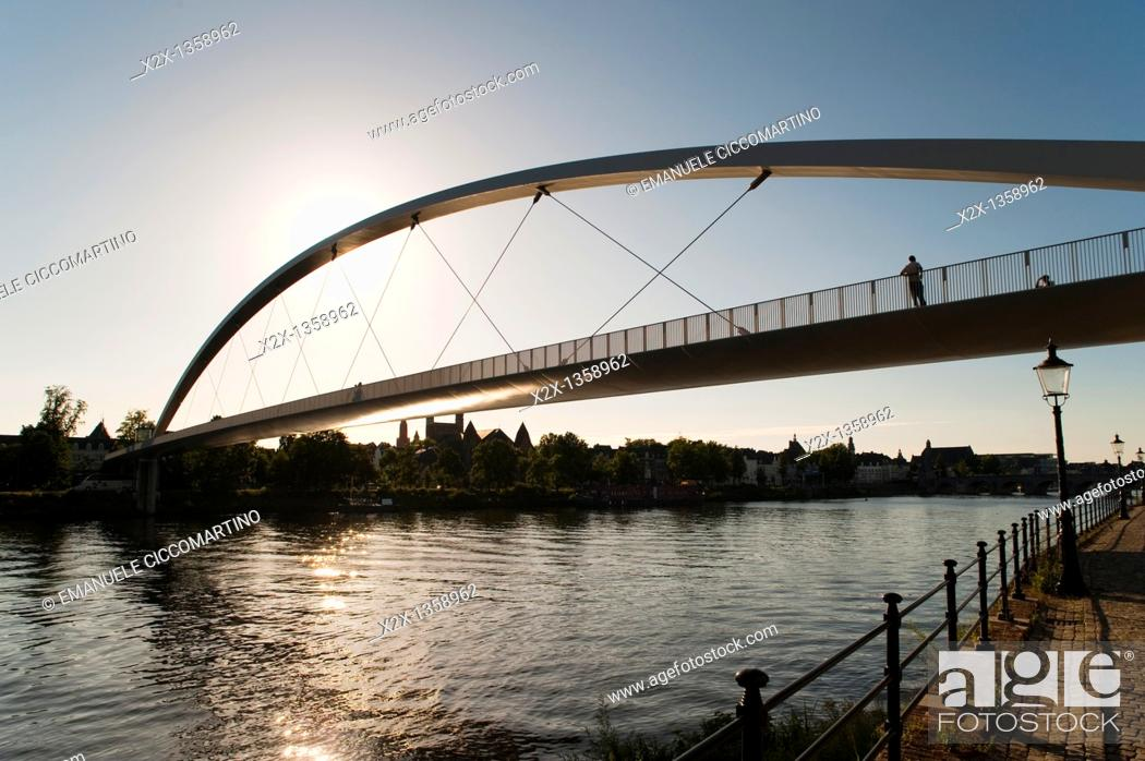 Stock Photo: 'Hoger Brug' Higher Bridge on the River Maas, Maastricht, Limburg, The Netherlands, Europe.