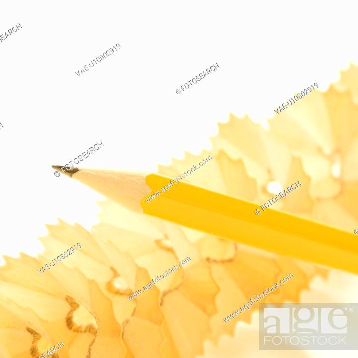 Stock Photo: Sharp pencil on spiral pencil shavings.