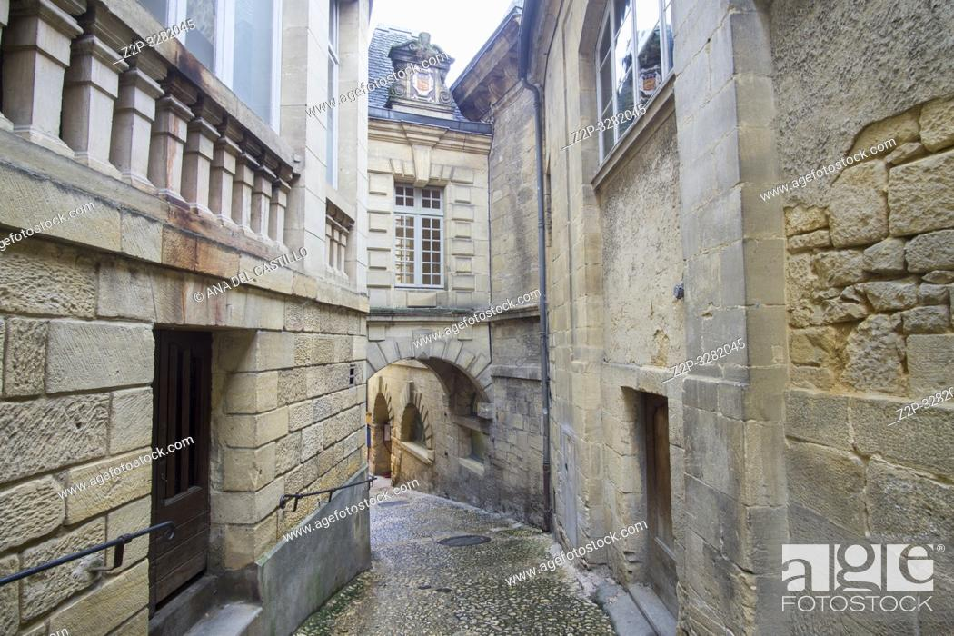 Stock Photo: Sarlat la Caneda a beautiful medieval town and one of the highlights to a visit to the Dordogne Perigord France on December 7, 2018.