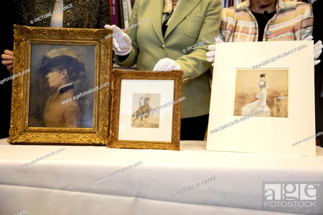 Stock Photo: 22 January 2020, Berlin: Three works of art identified as Nazi looted art can be seen in the office of Minister of State for Culture Grütters in the Federal.