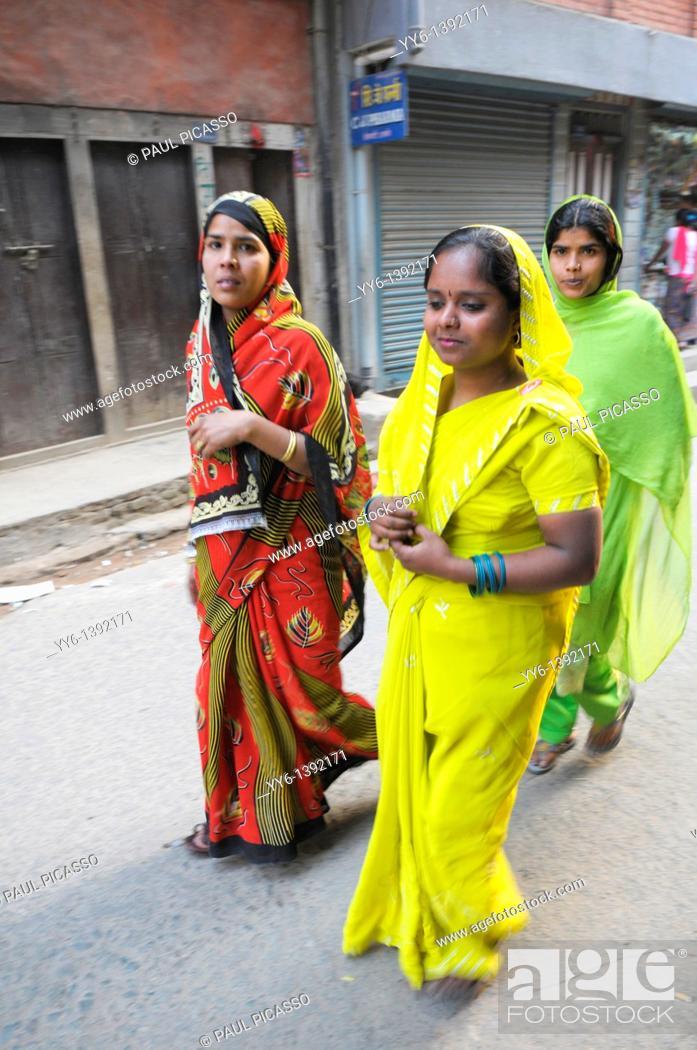 Stock Photo: nepalis ladies , early morning in kathmandu, nepal.
