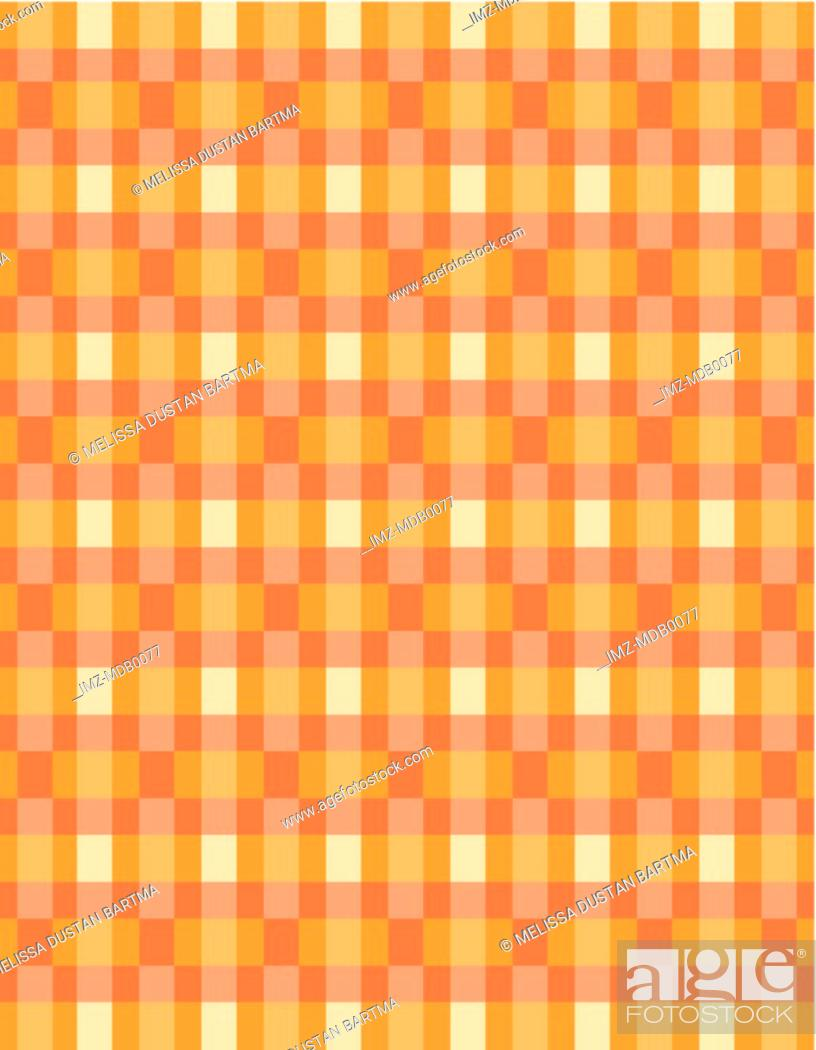 Stock Photo: An orange and yellow retro checked pattern.