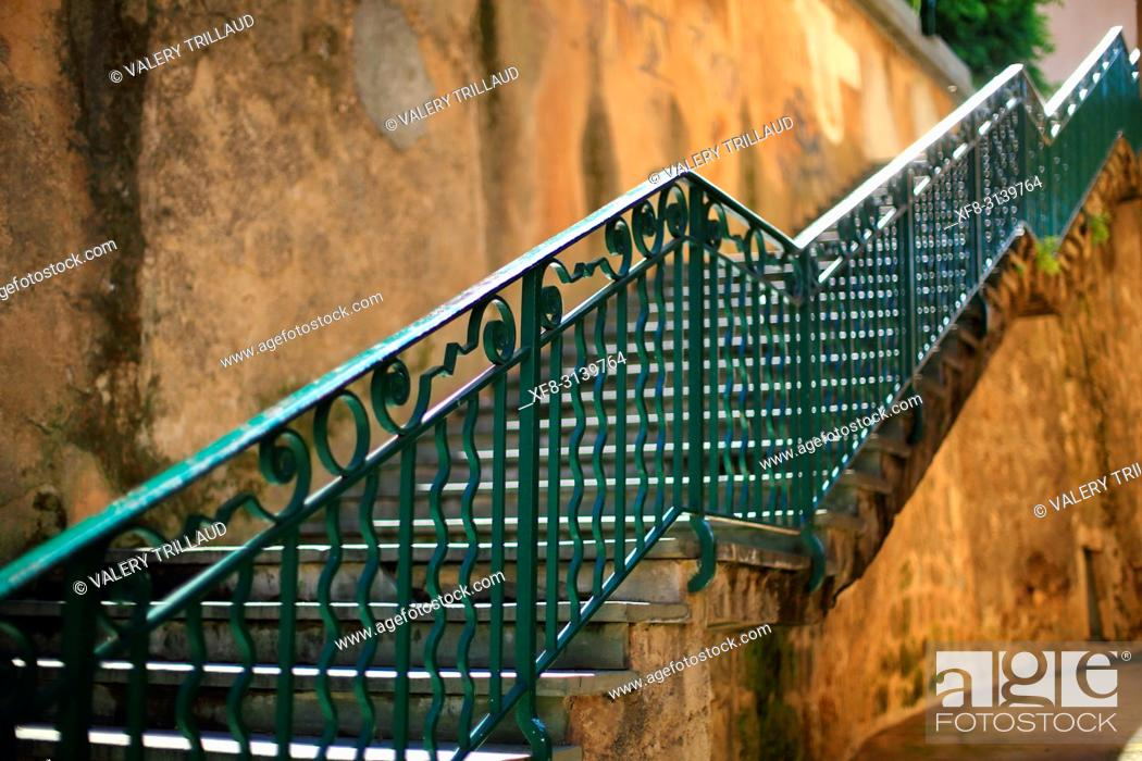 Stock Photo: Stairs. Grasse, Alpes Maritimes, 06, PACA, France.