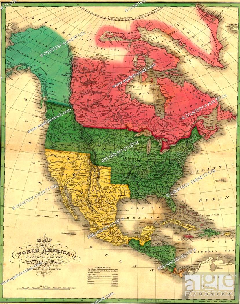 North American political boundaries in 1826. Image shows the ...