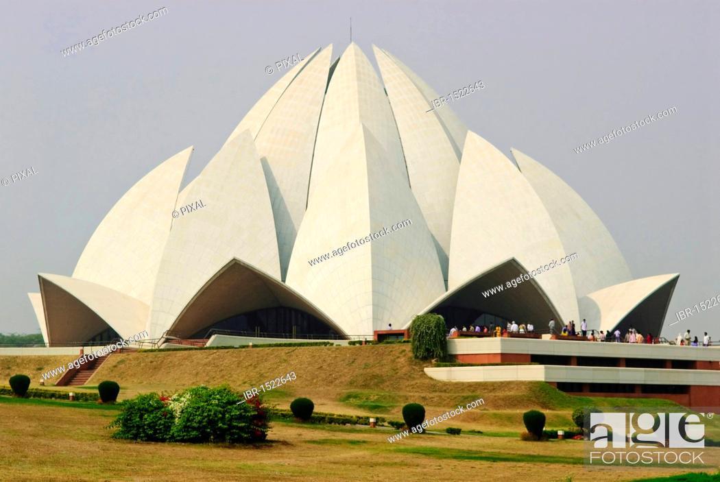 Stock Photo: Bahá'í House of Worship, Lotus Temple, New Delhi, India, Asia.