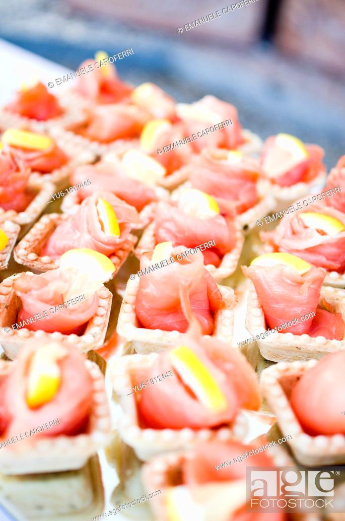Stock Photo: Salmon canapés.