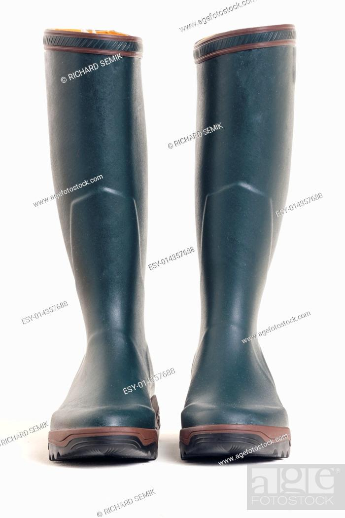 Stock Photo: green rubber boots.