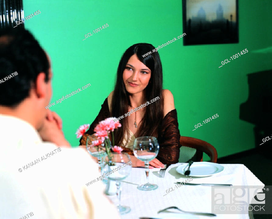 Stock Photo: A couple in a restaurant.