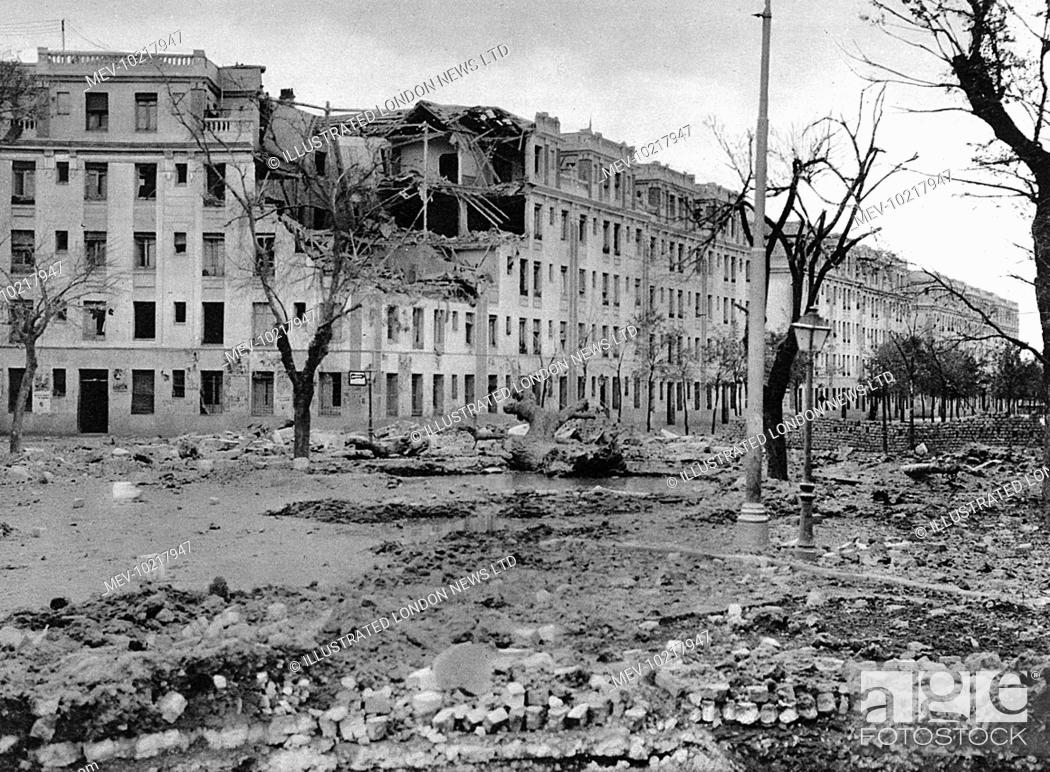 Stock Photo: Photograph showing an avenue in the West of Madrid after bombardment by the Nationalist airforce and artillery, November 1936.