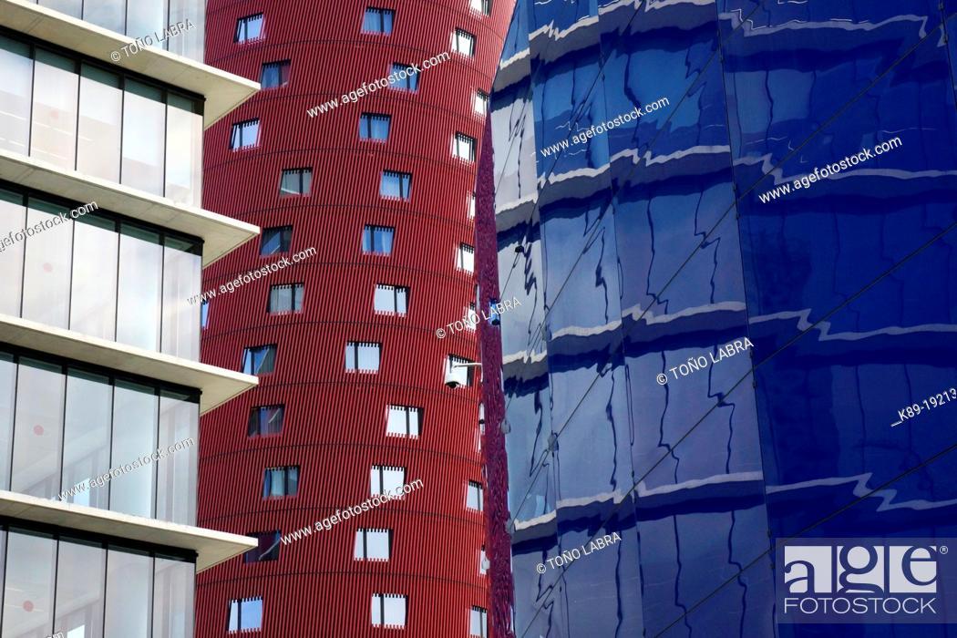 Stock Photo: Porta Fira Hotel by Toyo Ito  Barcelona  Catalunya  Spain.