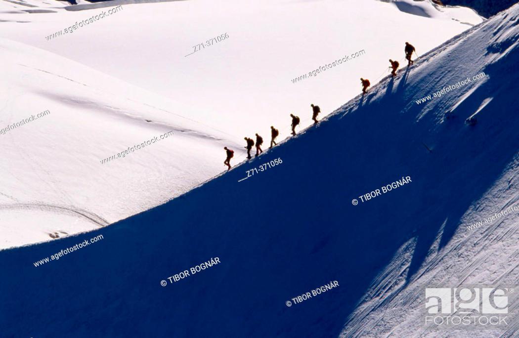 Stock Photo: Mountaineers. Chamonix, French Alps. Savoie, France.