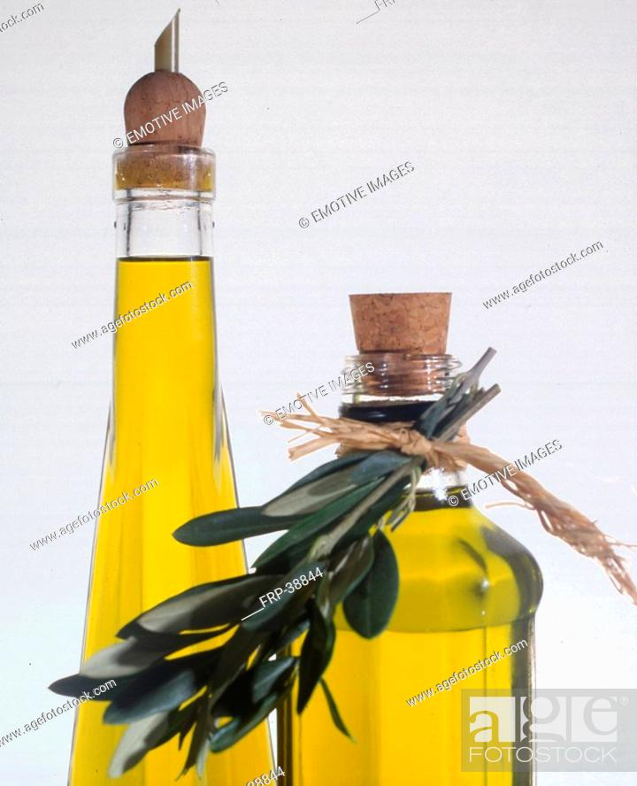 Stock Photo: Two bottles of olive oil.
