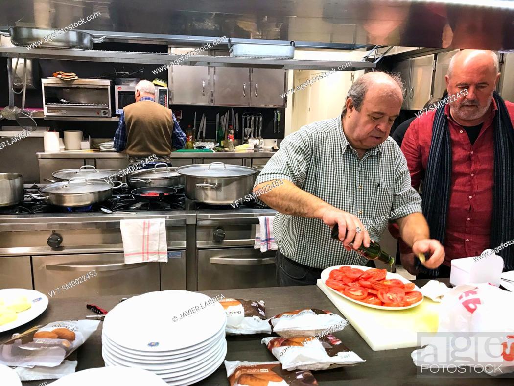 Stock Photo: Cooks in the kitchen, Sociedad Gastronómica Gaztelubide, Gastronomic society, San Sebastian, Donostia, Gipuzkoa, Basque Country, Spain, Europe.