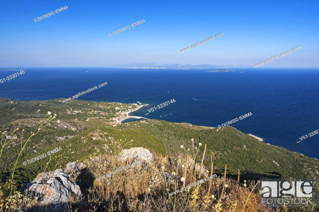 Stock Photo: Othoni, Greece, Ionian Islands, Europe, Corfu district, Mount MEGALO MEROVIGLI (394m) below the village of Fanò in the background the island of Mathraki and.