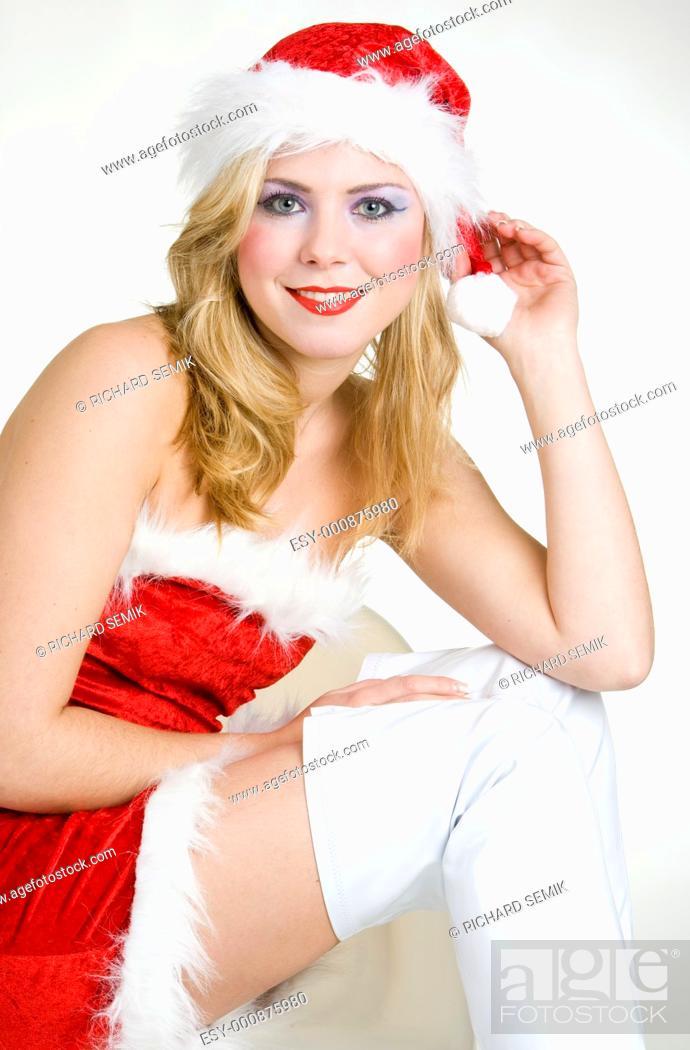 Stock Photo: woman''s portrait - Santa Claus.