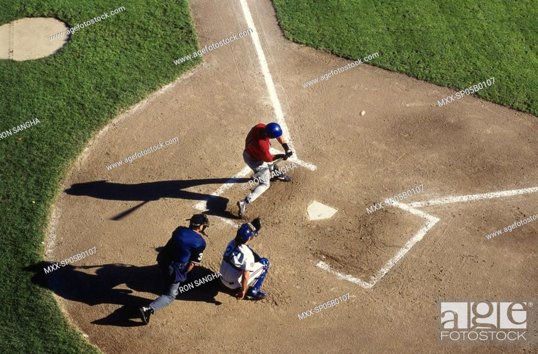 Aerial Of Baseball Game Battera And Back Catcher Stock Photo