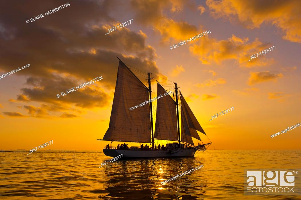 Stock Photo: The schooner Western Union at sunset, off Key West, Florida Keys, Florida USA.