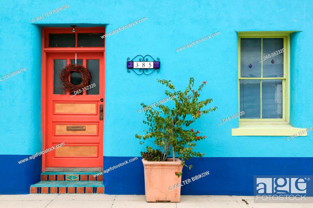 Stock Photo: House detail in Presidio historic district. Tucson. Arizona, USA.