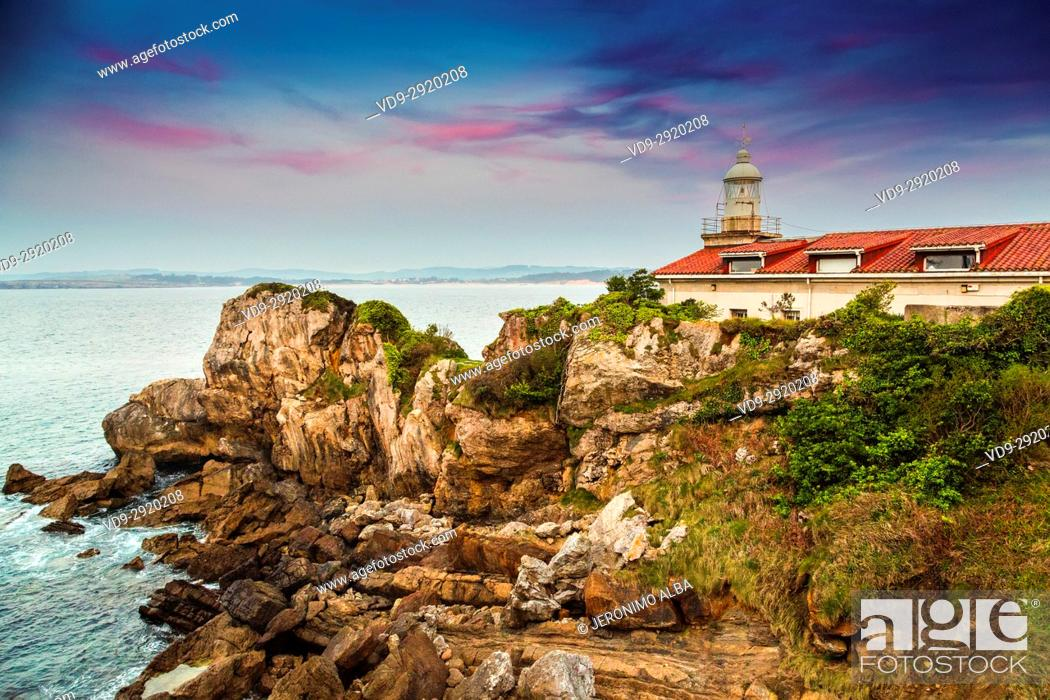Stock Photo: La Cerda lighthouse at sunset, Santander. Cantabrian Sea. Cantabria Spain. Europe.