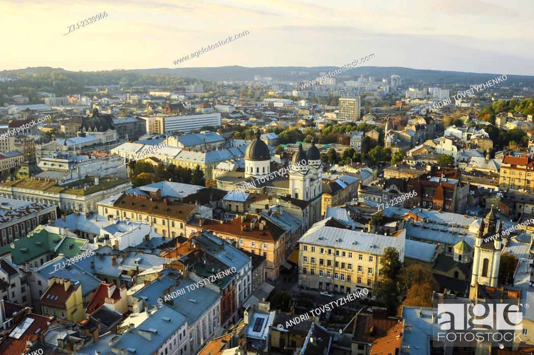 Stock Photo: view of the old city of Lviv. Ukraine.