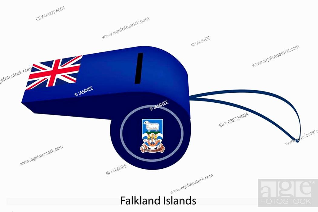 Stock Photo: An Illustration of A Union Jack and Coat of Arms on Blue Field of The Falkland Islands Flag on A Whistle, The Sport Concept and Political Symbol.
