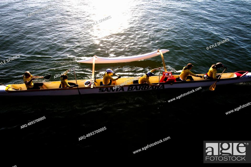 Stock Photo: The women's Santa Barbara Outrigger Team practices on April 28, 2012 off the coast of Santa Barbara, California.