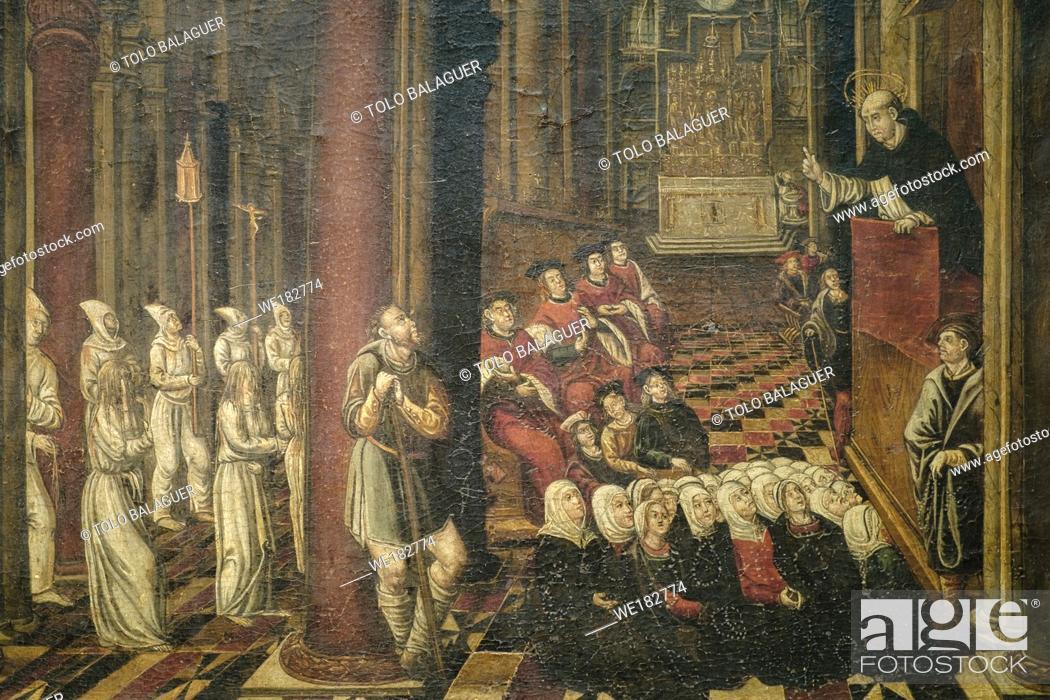 Stock Photo: predicación de San vicente Ferrer, Bartomeu, martínez, 1520, oleo sobre tabla, Museo diocesano de Mallorca, Palma, Mallorca, balearic islands, Spain.