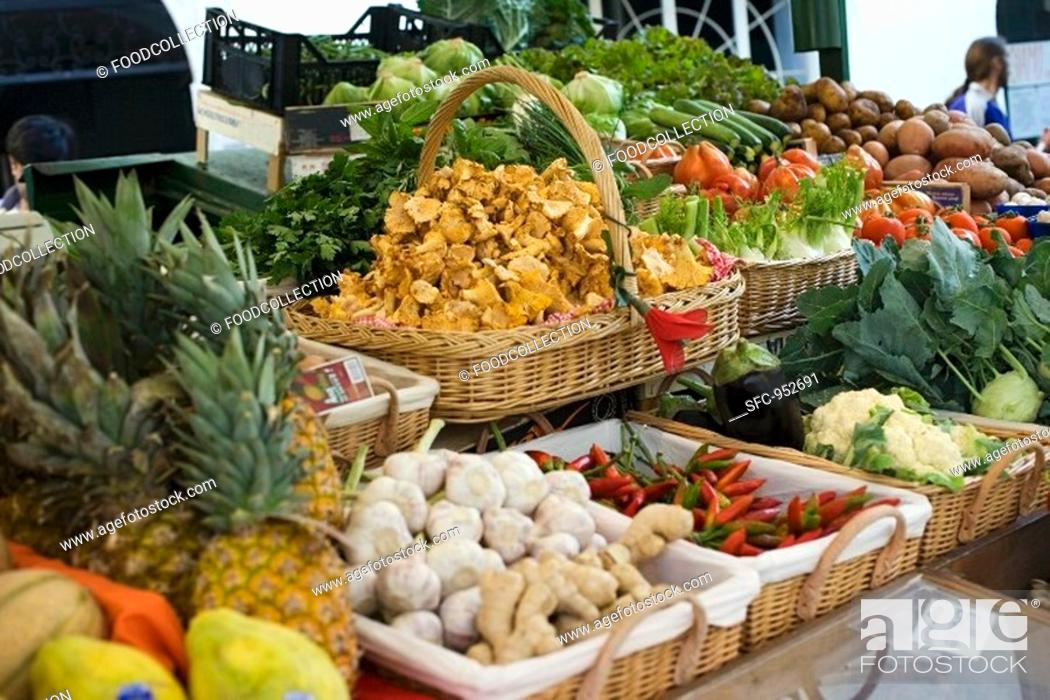Stock Photo: Market stall with fruit, vegetables, mushrooms and herbs.