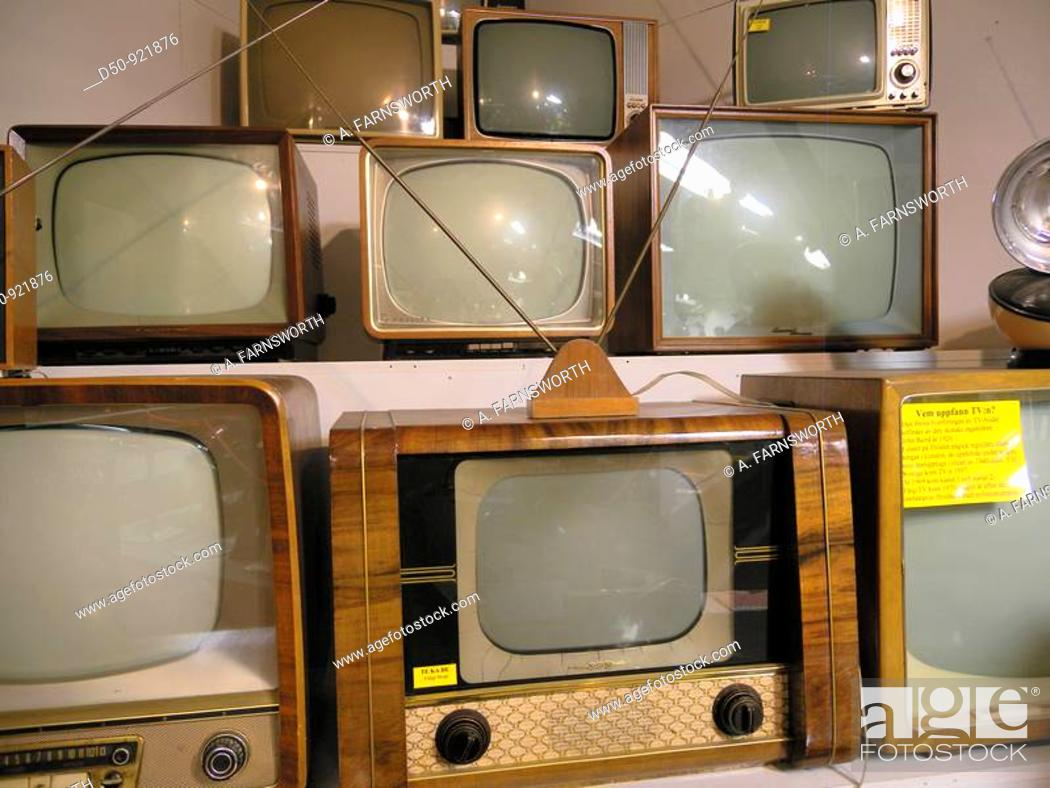 Stock Photo: Collection of old 1950s era televisions at the Motala Motor Museum, Motala, Sweden.