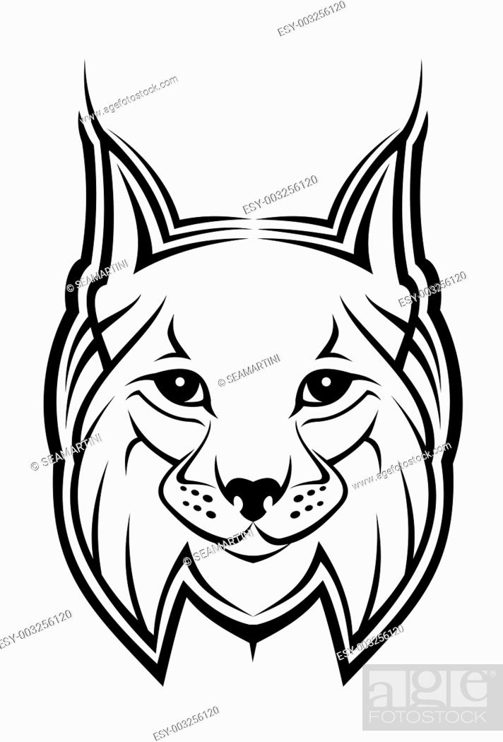 Stock Photo: Head of lynx as a mascot isolated on white.