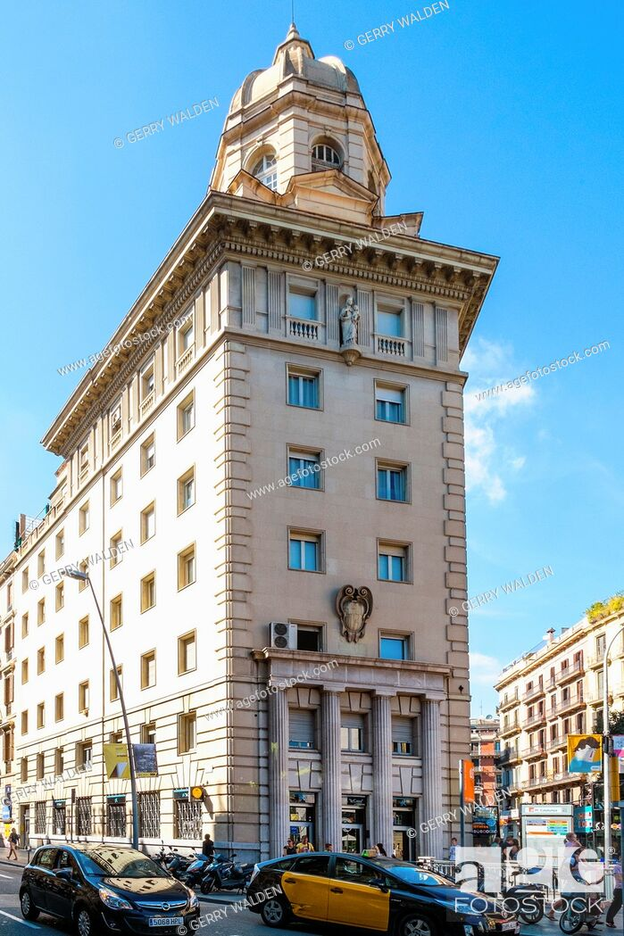 Stock Photo: Impressive stone-faced building on the Carrer de Pelai in Barcelona.