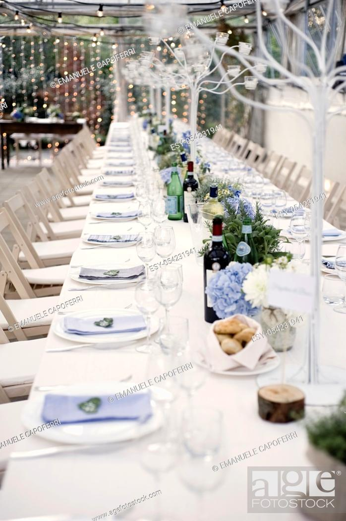 Stock Photo: Table decorated for wedding parties.